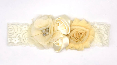 Cream White Baby Headband with Small Flowers