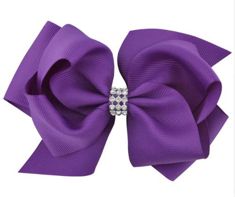 Purple Large Hair Bow on Clip