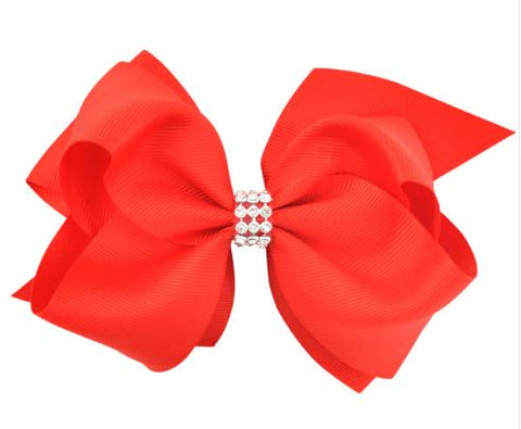 Red Large Hair Bow on Clip
