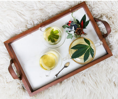 Tea with cannabis plant infused