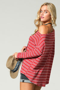 Turn it Up Red Sexy Shoulder Blouse - Cup of Tea Boutique