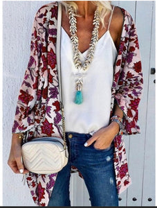 Kimono - Floral Red - Cup of Tea Boutique