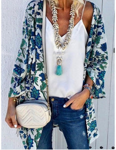 Kimono - Floral Blue/Green - Cup of Tea Boutique