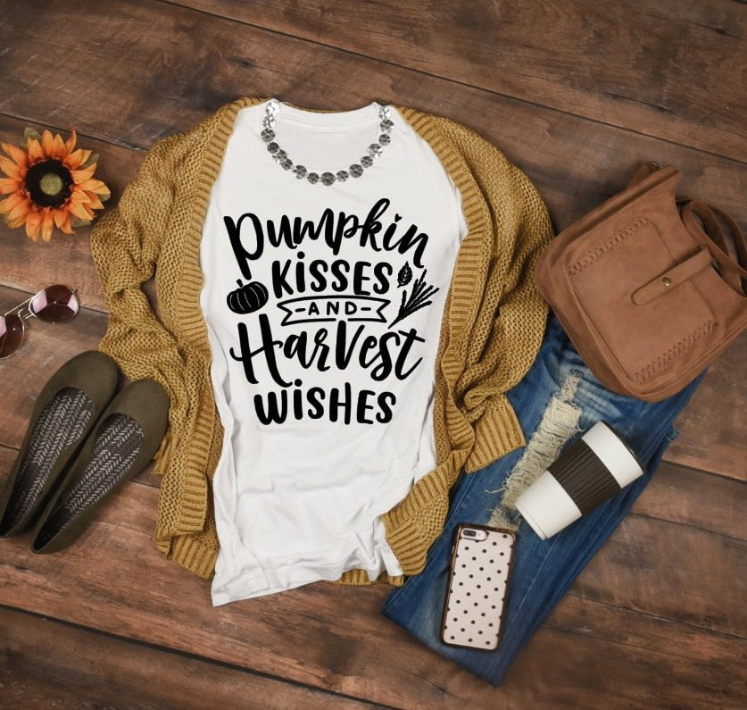 Pumpkin Kisses and Harvest Wishes Fall Graphic Tee - Cup of Tea Boutique