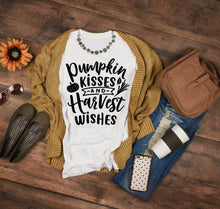 Load image into Gallery viewer, Pumpkin Kisses and Harvest Wishes Fall Graphic Tee - Cup of Tea Boutique