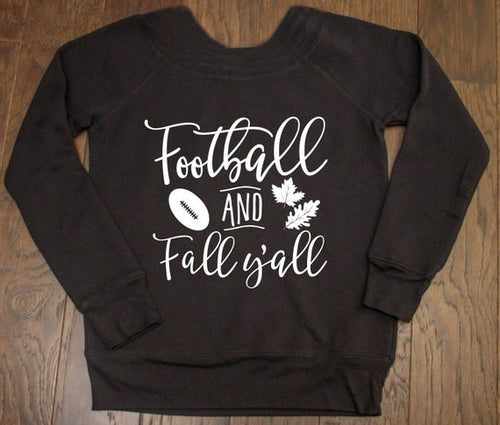 Football and Fall Y'all Long Sleeve Sweatshirt - Cup of Tea Boutique