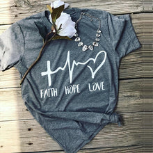 Load image into Gallery viewer, Faith Hope Love Graphic T-Shirt - Cup of Tea Boutique
