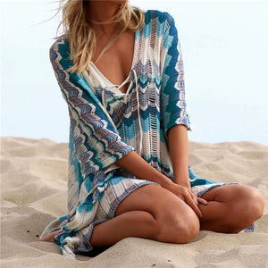 Patchwork and Stylish Beach Coverup - Cup of Tea Boutique