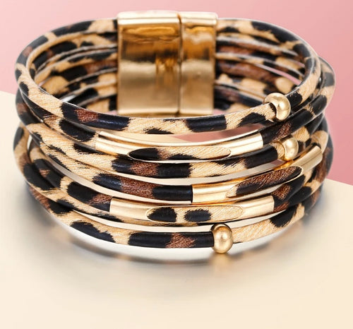 Amazing Leather Wide Bracelet - Cup of Tea Boutique