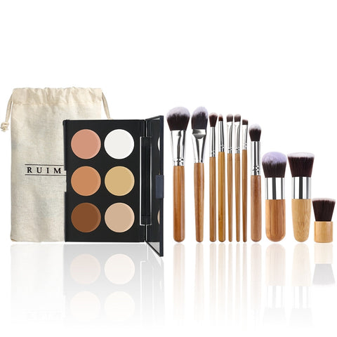 RUIMIO 6 Colors Face Cream Makeup Contour Palette + 11pcs Bamboo Handle Foundation Blending Blush Eye Face Liquid Powder Cream Cosmetics Brushes Kit