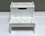Hand Painted Baby Girl Step Stool