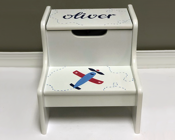 Hand Painted Baby Boy Step Stool