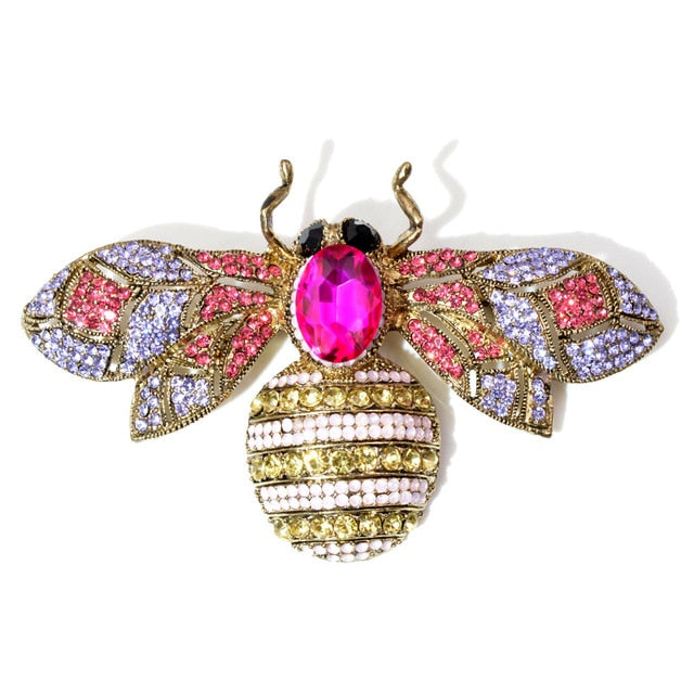 Broche abeille strass rose - Dooka Happy Brand