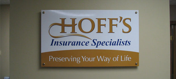 indoor signage for business st cloud minnesota, mustang signs, hoffs insurance st cloud minnesota