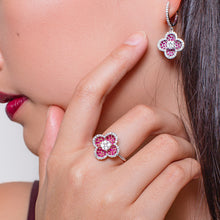 Load image into Gallery viewer, Pavé Ruby Diamond Earrings