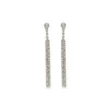 Load image into Gallery viewer, Pavé Diamond Line Threaders White Gold Earrings
