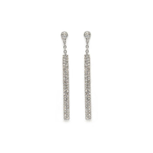 Pavé Diamond Line Threaders White Gold Earrings
