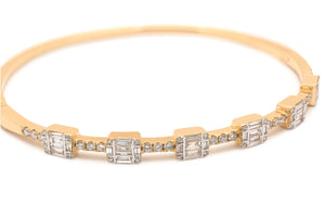 Baguette and Pavé Diamond Bracelet/Bangle