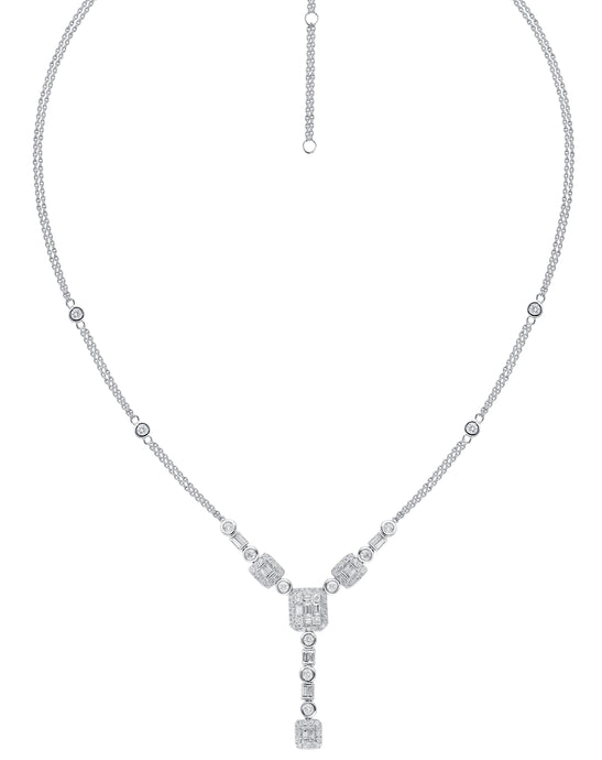 Cluster Baguette Diamond Necklace