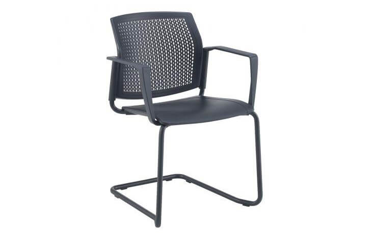 Santana Cantilever Chair with Plastic Seat and Perforated Back