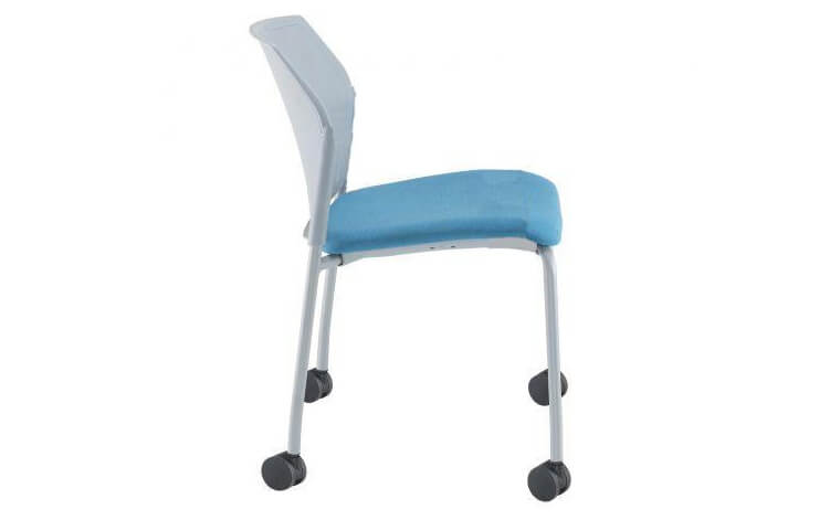 Santana 4 Leg Mobile Chair with Fabric Seat and Plastic Back (No Arms)