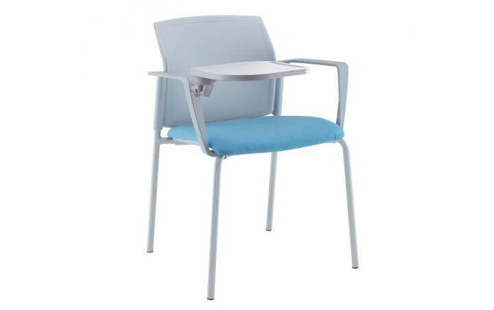 Santana 4 Leg Stacking Chair with Fabric Seat and Plastic Back (Arms and Writing Tablet)