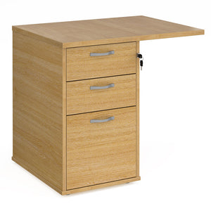 Universal desk high 3 drawer pedestal with flyover top