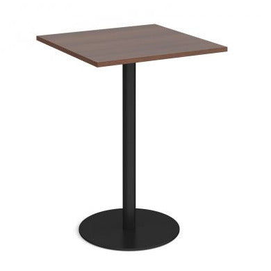 Monza square poseur table with flat round base Tables