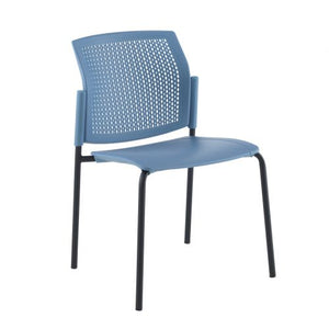 Santana 4 leg stacking chair with plastic seat and perforated back Seating