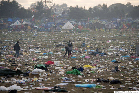 Glastonbury waste rubbish aftermath plastic