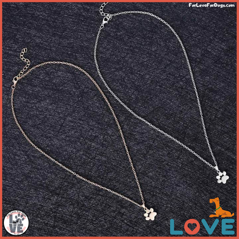 Paw Chain Pendant Necklace forlovefordogs for love for dogs