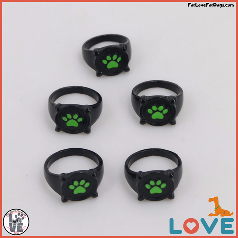 FLFD - Cartoon Green Dog Paw Ring forlovefordogs for love for dogs ring jewelry