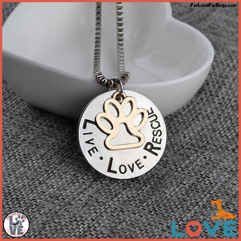 FLFD - LIVE LOVE RESCUE Hollow Gold Paw Pendant Necklace forlovefordogs for love for dogs