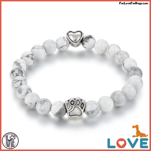 FLFD - Yoga Natural Mala Bead Bracelet Dog Paw (Elastic Rope Bead Bracelet) forlovefordogs for love for dogs petlovers