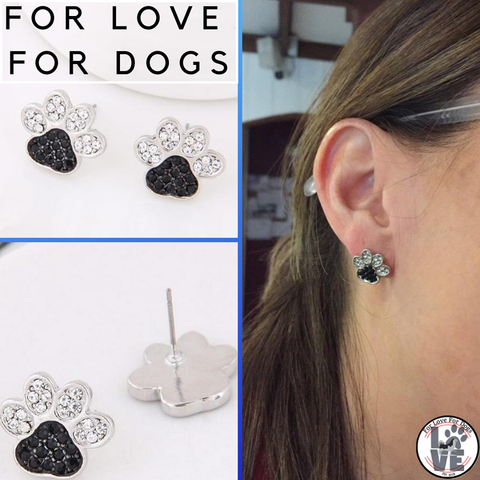 FLFD - Earrings Silver Jewelry Crystal Dog Paw forlovefordogs for love for dogs earring