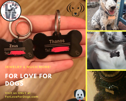 FLFD - Pet ID Tags in Stainless Steel forlovefordogs for love for dogs jewelry