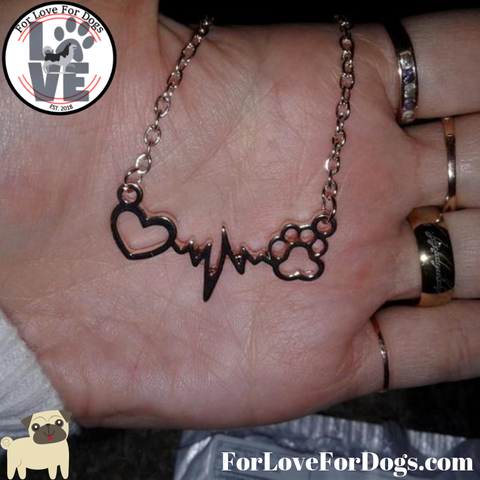 necklace forlovefordogs Dogs Paw & Heart Love jewelry for love for dog