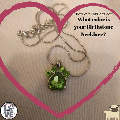 birthday necklace birthstone rhinestone forlovefordogs for love for dogs jewelry