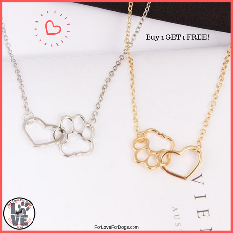 link heart and paw forlovefordogs for love for dogs pets dog pet jewelry necklace