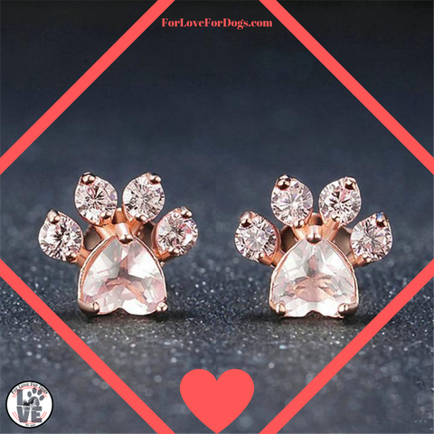 FLFD - Crystal Earrings For Women Dog Paw forlovefordogs for love for dogs jewelry earring
