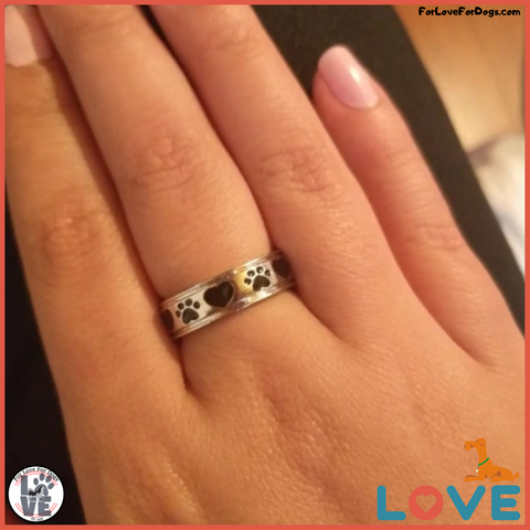 "FLFD - ""Always by my side, Forever in my Heart"" Dog Paw Ring forlovefordogs for love for dogs petlovers ring"