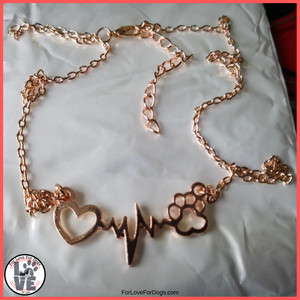 FLFD - Dogs Paw & Heart Love Necklace