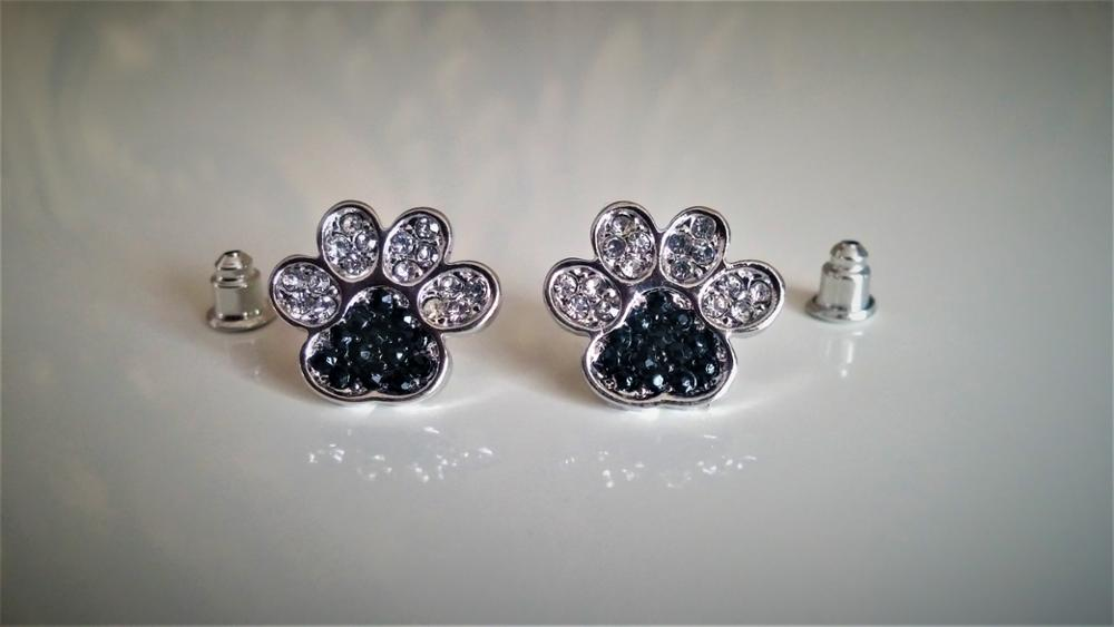 FLFD - Earrings Silver Jewelry Crystal Dog Paw
