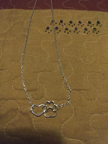 FLFD - Linked Heart and Paw Hollow Dog Paw Necklace