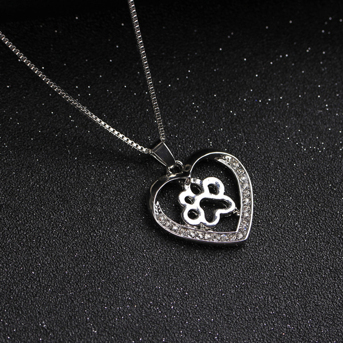 FLFD - Silver Crystal Paw Necklaces