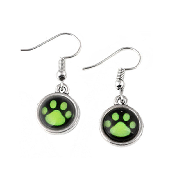 FLFD - Earring Cartoon Green Dog Paw