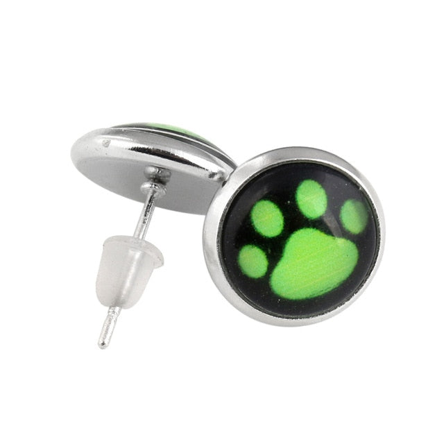 FLFD - Junior Earring Cartoon Green Dog Paw Silver Outline