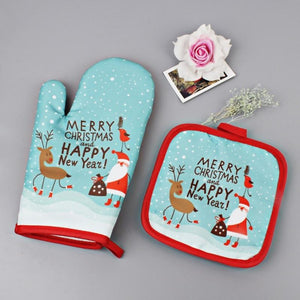 Christmas Anti-Hot Gloves and Pad for Baking