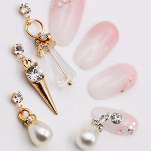 3D Luxury Metal Rhinestone Pearl Tassel Nail Decorations - My Lifestyle Stores
