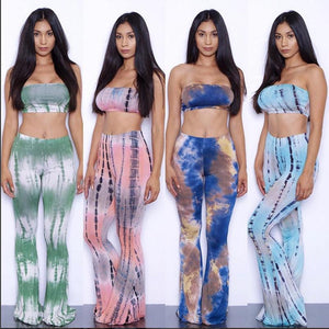 Tie Dye Flare Pants Bra Crop Top